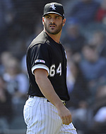 CHICAGO - APRIL 17:  Josh Osich #64 of the Chicago White Sox looks on against the Kansas City Royals on April 17, 2019 at Guaranteed Rate Field in Chicago, Illinois.  (Photo by Ron Vesely)  Subject:   Josh Osich