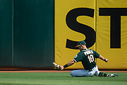 Oakland Athletics right fielder Chad Pinder (18) slides to catch a Los Angeles Angels hit at Oakland Coliseum in Oakland, California, on September 6, 2017. (Stan Olszewski/Special to S.F. Examiner)