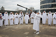 A horn is blown to each direction on the compass at The Druid Order Spring Equinox ceremony held at Tower Hill Terrace in London, England, United Kingdom. The druids hold a ceremony celebrating the rise of the light. Ceridwen, the earth mother, brings token seeds which are symbolically sown around a circle. The concern of The Druid Order is with the evolution of humanity in harmony with the universe and to teach through open meetings, ceremonies, meditation and ritual.