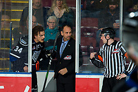 KELOWNA, BC - JANUARY 3:  Kaid Oliver #34 of the Victoria Royals sits in the penalty box and speaks to referee Trevor Nolan during second period against the Kelowna Rockets at Prospera Place on January 3, 2020 in Kelowna, Canada. (Photo by Marissa Baecker/Shoot the Breeze)