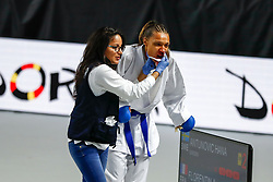 November 10, 2018 - Madrid, Madrid, Spain - Florentin Anne Laure (FRA) get injures during the figth for third place of Female Kumite 68+ Kg during the Finals of Karate World Championship celebrates in Wizink Center, Madrid, Spain, on November 10th, 2018. (Credit Image: © AFP7 via ZUMA Wire)