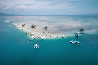 Aerial view of the famous Manjuyod Sand Bar also known as The Maldives of the Philippines in Bais City, Province of Negros Oriental, Philippines