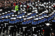 The Lord Mayors show London. Soldiers of the Royal Navy procession go past.