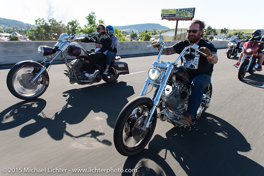 Bobby Seeger Jr on Aiden's Ride, dedicated to help raise awareness for ALD after Bobby Seeger Jr. of Indian Larry Motorcycles' son passed away from the disease, during the 75th Annual Sturgis Black Hills Motorcycle Rally.  SD, USA.  August 6, 2015.  Photography ©2015 Michael Lichter.