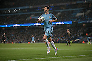 Jesús Navas (Manchester City) carries the ball to take a corner, with his team on the attack during the Champions League match between Manchester City and Celtic at the Etihad Stadium, Manchester, England on 6 December 2016. Photo by Mark P Doherty.