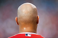 The Angels' Albert Pujols waits on deck during the Halos' game against the New York Yankees Tuesday at Angel Stadium.