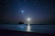 Venus, Earth and Moon align with a meteor on New Years Eve, December 31st, 2016. Blind Beach, Sonoma Coast State Park, Jenner, California