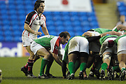 Reading, GREAT BRITAIN, Paul HODGESON watched by Issac BOSS, feeds the ball into the tunnel,  during the third round Heineken Cup game, London Irish vs Ulster Rugby, at the Madejski Stadium, Reading ENGLAND, Sat., <br /> 09.12.2006. [Photo Peter Spurrier/Intersport Images]