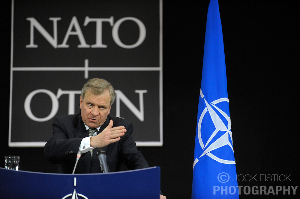 Jaap de Hoop Scheffer, secretary general of NATO, speaks during a news conference following a NATO foreign ministers meeting at NATO headquarters in Brussels, Thursday, March 5, 2009. (Photo © Jock Fistick)