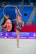 Filiorianu Ana Luiza during Qualification of hoop at World Cup Pesaro 2018.She was born in July 10, 1999 in Bucharest. She is a very good Romanian individual rhythmic gymnast.