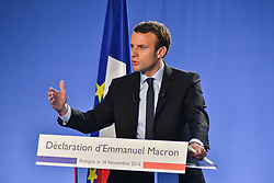 Former Economy Minister Emmanuel Macron delivers his speech and officially declares candidacy for the 2017 presidential elections, during a visit to Campus des Metiers et de l'Entreprise, a professional training center in Bobigny, near Paris, France on November 16, 2016. Photo by Yann Korbi/ABACAPRESS.COM