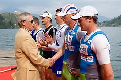 Janez Bencina and third placed Jure Grace and Gregor Domanjko of VK Dravske elektrarne Maribor at medal ceremony at 51st Prvomajska Regatta Bled 2010, on April 25, 2010, at Lake Bled, Bled, Slovenia. (Photo by Vid Ponikvar / Sportida)