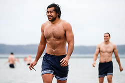 Steven Luatua (capt) looks on as Bristol Rugby take part in a morning after game recovery session in the sea - Rogan/JMP - 29/10/2017 - RUGBY UNION - Jersey Marine Lake - St Helier, Jersey - Jersey Reds v Bristol Rugby - Greene King IPA Championship.