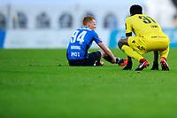 Fotball , Eliteserien , Eliteserien 2018<br /> 25.04.2018 , 20180425<br /> Stabæk - Start<br /> Starts Damion Lowe og Stabæks Martin Rønning Ovenstad etter kampen<br /> Foto: Sjur Stølen / Digitalsport