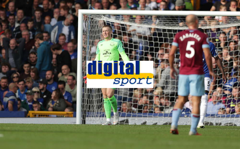Football - 2018 / 2019 Premier League - Everton vs. West Ham United<br /> <br /> Jordan Pickford of Everton reacts after Andriy Yarmolenko of West Ham United scores his second goal at Goodison Park.<br /> <br /> COLORSPORT/LYNNE CAMERON