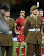 a dejected looking Wales capt Sam Warburton looks on at end of game. Autumn International rugby, 2013 Dove men series, Wales v South Africa at the Millennium Stadium in Cardiff,  South Wales on Saturday 9th November 2013. pic by Andrew Orchard, Andrew Orchard sports photography,