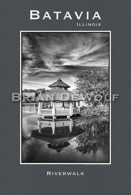 """Bird's view of Batavia's Riverwalk Gazebo on a late summer afternoon. 24"""" x 36""""   This poster is  individuallly printed, to order,  on luster poster-weight paper. Price is $50 and can be paid by mail or by Paypal. Order using the Contact Form on this website."""