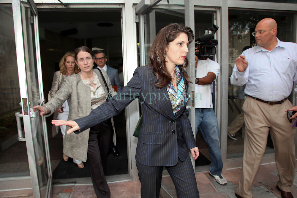 01 June  2015. New Orleans, Louisiana. <br /> Rita Benson LeBlanc (center) and her mother Renee (behind her) attended a hearing to determine the competency of grandfather/father Tom Benson. Benson is the billionaire owner of the NFL New Orleans Saints, the NBA New Orleans Pelicans, various Mercedes dealerships, banks, property assets and a slew of business interests. Rita, her brother and mother demanded a competency hearing after Benson changed his succession plans and decided to leave the bulk of his estate to third wife Gayle, sparking a controversial fight over control of the Benson business empire.<br /> Photo©; Charlie Varley/varleypix.com