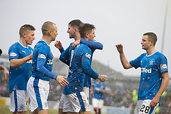 Rangers Josh Windass (centre) celebrates scoring his side's fifth goal of the game during the William Hill Scottish Cup, fifth round match at Somerset Park, Ayr.