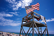 Lifeguards with an American flag