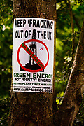 Anti fracking poster on a tree in Glastonbury.<br /> Glastonbury Festival is the largest greenfield festival in the world, and is now attended by around 175,000 people. It's a five-day music festival that takes place near Pilton, Somerset, England. In addition to contemporary music, the festival hosts dance, comedy, theatre, circus, cabaret, and other arts. It is organised by Michael Eavis on his own land, Worthy Farm in Pilton. Leading pop and rock artists have headlined, alongside thousands of others appearing on smaller stages and performance areas.