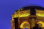 Lights light up the buildings at the Palace of Fine Arts in San Francisco, California.