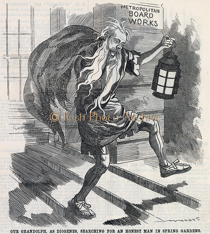 Randolph Churchill who was instrumental in setting up of Royal Commission to examine corruption in the (London) Metropolitan Board of Works. Cartoon from'Punch', London, 1888.