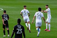 Leeds United's Ben White celebrates scoring his side's first goal with teammates<br /> <br /> Photographer Alex Dodd/CameraSport<br /> <br /> The EFL Sky Bet Championship - Leeds United v Charlton Athletic - Wednesday July 22nd 2020 - Elland Road - Leeds <br /> <br /> World Copyright © 2020 CameraSport. All rights reserved. 43 Linden Ave. Countesthorpe. Leicester. England. LE8 5PG - Tel: +44 (0) 116 277 4147 - admin@camerasport.com - www.camerasport.com