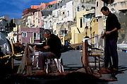 Chaiolella fishing village at dawn, Procida Island on Bay of Naples.