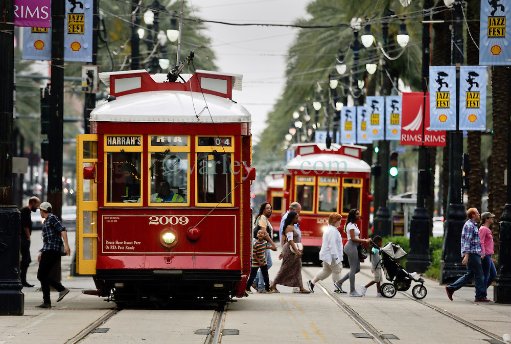 20 April 2015. New Orleans, Louisiana.<br /> Street cars on Canal Street. <br /> Photo; Charlie Varley/varleypix.com