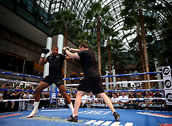 Anthony Joshua (left) during the public work-out at the Brookfield Place, New York.