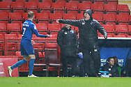 AFC Wimbledon first team coach Glyn Hodges shouting during the EFL Sky Bet League 1 match between Charlton Athletic and AFC Wimbledon at The Valley, London, England on 15 December 2018.