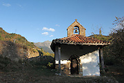 A small chapel at Ermita de San Miguel, a hamlet in the foothills of the Picos de Europa, near Potes, in northern Spain