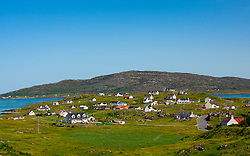 Houses in village of Balla on island of Eriskay in the Outer Hebrides, Scotland, UK