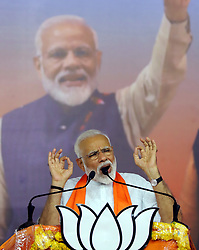 May 26, 2019: Ahmadabad, India: NARENDRA MODI speaks during a public meeting. Indian President Kovind on Saturday evening appointed Modi as the prime minister after receiving letters of support from the ruling National Democratic Alliance. (Credit Image: © Xinhua via ZUMA Wire)