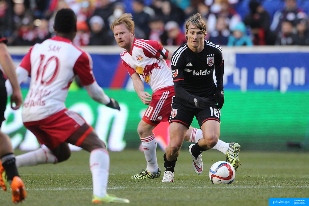 Chris Rolfe, D.C. United, in action during the New York Red Bulls Vs D.C. United Major League Soccer regular season match at Red Bull Arena, Harrison, New Jersey. USA. 22nd March 2015. Photo Tim Clayton