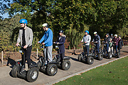 Visitors line-up on Segways before exploring the grounds of Leeds Castle, on 21st October 2018, in Kent, England.