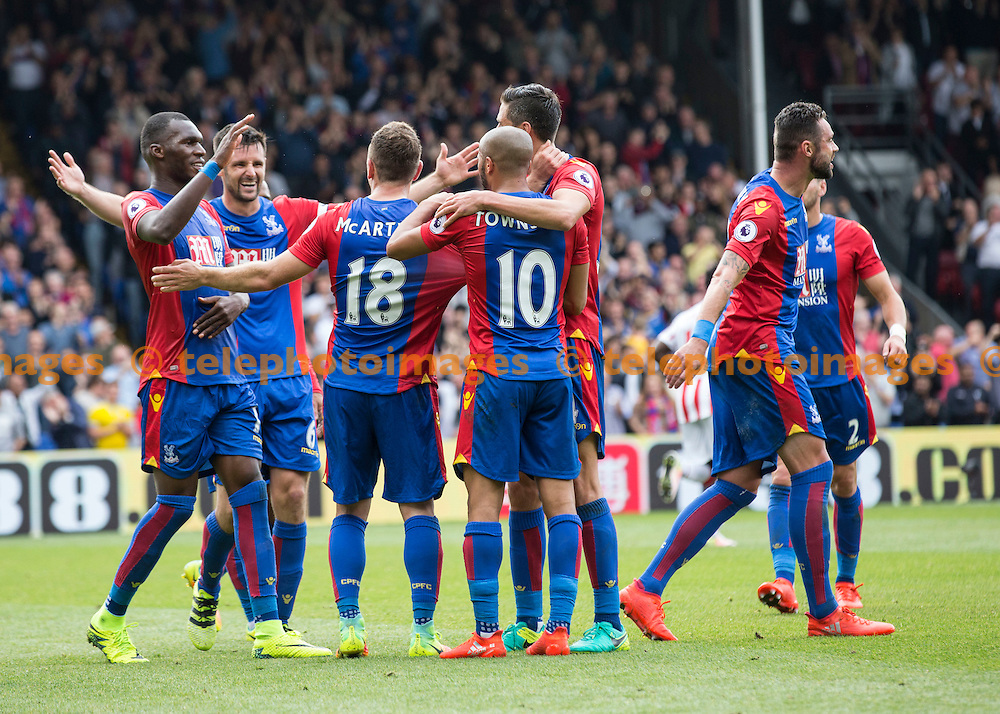 The Palace players celebrate with James McArthur after his goal during the Premier League match between Crystal Palace and Stoke City at Selhurst Park in London. September 18, 2016.<br /> Jack Beard / Telephoto Images<br /> +44 7967 642437