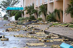 September 11, 2017 - St. Petersburg, Florida, U.S. - The foam roof of the Howard Johnson on St. Pete Beach litters the parking lot after Hurricane Irma passed through St. Petersburg, Fla. on Monday. (Credit Image: © Will Vragovic/Tampa Bay Times via ZUMA Wire)