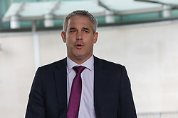 © Licensed to London News Pictures. 24/03/2019. London, UK.  Brexit secretary Stephen Barclay MP arrives to appear on the Andrew Marr show at BBC Broadcasting House in London.  Photo credit: Vickie Flores/LNP