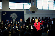 Denmark, SC _ FEBRUARY 12, 2016: Presidential candidate Hillary Clinton answers questions from supporters during a campaign stop at Denmark-Olar Elementary School gymnasium, Thursday, Feb. 11, 2016 in Denmark, S.C.  CREDIT: Stephen Morton for The New York Times