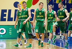 Zygimantas Skucas of Lithuania, Edgaras Ulanovas of Lithuania, Arnas Butkevicius of Lithuania, Rolandas Jakstas of Lithuania, Dovydas Redikas of Lithuania during basketball match between National teams of Slovenia and Lithuania in First Round of U20 Men European Championship Slovenia 2012, on July 14, 2012 in Domzale, Slovenia.  (Photo by Vid Ponikvar / Sportida.com)