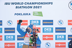 14.02.2021, Center Pokljuka, Pokljuka, SLO, IBU Weltmeisterschaften Biathlon, Sprint, Herren, Siegerehrung, im Bild jacquelin (emilien) (fra), 	, // during the winner ceremony for the mens Sprint competition of IBU Biathlon World Championships at the Center Pokljuka in Pokljuka, Slovenia on 2021/02/14. EXPA Pictures © 2021, PhotoCredit: EXPA/ Pressesports/ Frederic Mons<br /> <br /> *****ATTENTION - for AUT, SLO, CRO, SRB, BIH, MAZ, POL only*****