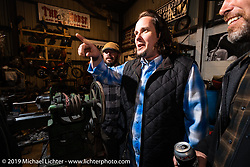 Chris Wade at the industry party at Bill Dodge's Blings Cycles shop during Daytona Bike Week. Daytona Beach, FL. USA. Wednesday March 14, 2018. Photography ©2018 Michael Lichter.