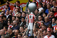 Sunderland fans holding an alien blow up toy in the away end at Vicarage Road. Barclays Premier league match, Watford v Sunderland at Vicarage Road in Watford, London on Sunday 15th May 2016.<br /> pic by Steffan Bowen, Andrew Orchard sports photography.