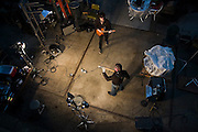 David Balatero, bassist, and Hamilton Boyce, guitarist and frontman for Song Sparrow Research, rehearse during the band's recording session at a warehouse in Top Hat near Seattle, Washington.