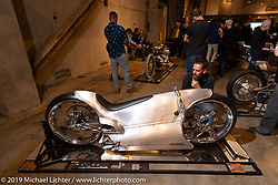 Checking out Bryan Fuller's (Fuller Moto) custom for which Bryan worked with Bobby Haas (Bobby Haas Museum) to come up with this  concept interpretation of what a 2029 version of the 1929 Majestic would look like. Bryan built this bike utilizing a Zero electric powertrain and 3d printed parts. At the Handbuilt Show. Austin, Texas USA. Saturday, April 13, 2019. Photography ©2019 Michael Lichter.