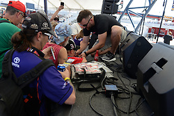 September 14, 2018 - Las Vegas, NV, U.S. - LAS VEGAS, NV - SEPTEMBER 14:   Austin Dillon (3) Richard Childress Racing (RCR) Chevrolet Camaro ZL1 signs autographs in the Neon Garage during practice for the South Point 400 Monster Energy NASCAR Cup Series Playoff Race on September 14, 2018 at Las Vegas Motor Speedway in Las Vegas, NV.  (Photo by Michael Allio/Icon Sportswire) (Credit Image: © Michael Allio/Icon SMI via ZUMA Press)