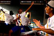 Belo Horizonte _ MG, 21 de Junho de 2007...Imagens de divulgacao do Projeto Querubins, um dos projetos de Educacao pela Arte apoiado pelo Instituto Ayrton Senna...Na foto, Marcus Vinicius Mario de Lima, aluno da oficina de percussao, durante aula de danca-afro...FOTO: LEO DRUMOND / AGENCIA NITRO