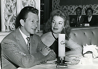 1956 Donald O'Connor and fiancee, Gloria Noble, at Ciro's Nightclub in West Hollywood